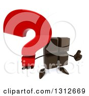 Clipart Of A 3d Chocolate Candy Bar Character Holding Up A Question Mark And Thumb Royalty Free Illustration by Julos