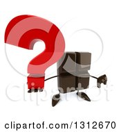 Clipart Of A 3d Chocolate Candy Bar Character Holding Up A Question Mark And Thumb Down Royalty Free Illustration by Julos