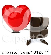 Clipart Of A 3d Chocolate Candy Bar Character Holding Up A Red Heart Royalty Free Illustration by Julos