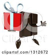 Clipart Of A 3d Chocolate Candy Bar Character Facing Slightly Left Jumping And Holding A Gift Royalty Free Illustration by Julos