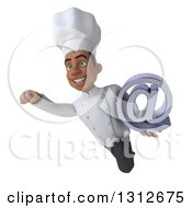Clipart Of A 3d Young Black Male Chef Flying And Holding An Email Arobase At Symbol Royalty Free Illustration
