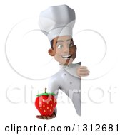 Clipart Of A 3d Young Black Male Chef Holding A Strawberry Around A Sign Royalty Free Illustration