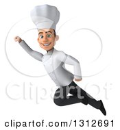 Clipart Of A 3d Young White Male Chef Smiling And Flying Up To The Left Royalty Free Illustration by Julos