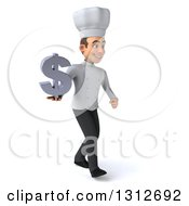 Clipart Of A 3d Young White Male Chef Facing Slightly Right Wlaking And Holding A Dollar Symbol Royalty Free Illustration