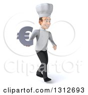 Clipart Of A 3d Young White Male Chef Walking Slightly To The Right And Holding A Euro Symbol Royalty Free Illustration