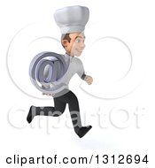 Clipart Of A 3d Young White Male Chef Sprinting To The Right And Holding An Email Arobase At Symbol Royalty Free Illustration