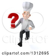Clipart Of A 3d Young White Male Chef Sprinting And Holding A Question Mark Royalty Free Illustration