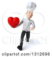 Clipart Of A 3d Young White Male Chef Holding A Heart Smiling And Walking Royalty Free Illustration