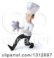 Clipart Of A 3d Young White Male Chef Speed Walking To The Left And Holding A Tooth Royalty Free Illustration