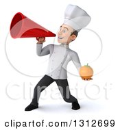 Clipart Of A 3d Young White Male Chef Holding A Navel Orange And Using A Megaphone Royalty Free Illustration