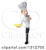 Clipart Of A 3d Full Length Young White Male Chef Holding A Banana Around A Sign Royalty Free Illustration