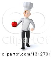 Clipart Of A 3d Young White Male Chef Walking And Holding A Tomato Royalty Free Illustration