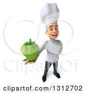 Clipart Of A 3d Young White Male Chef Holding Up A Green Bell Pepper Royalty Free Illustration