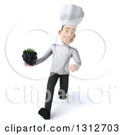 Clipart Of A 3d Young White Male Chef Speed Walking And Holding A Blackberry Royalty Free Illustration
