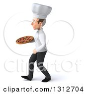 Clipart Of A 3d Young White Male Chef Walking To The Left And Holding A Pizza Royalty Free Illustration
