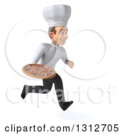 Clipart Of A 3d Young White Male Chef Sprinting To The Right And Holding A Pizza Royalty Free Illustration