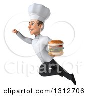 Clipart Of A 3d Young White Male Chef Flying To The Left And Holding A Double Cheeseburger Royalty Free Illustration by Julos