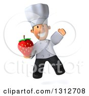 Clipart Of A 3d Short White Male Chef Jumping And Holding A Strawberry Royalty Free Illustration