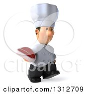 Clipart Of A 3d Short White Male Chef Walking To The Right With A Beef Steak Royalty Free Illustration