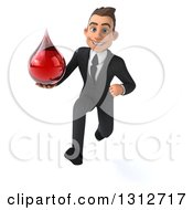 Clipart Of A 3d Happy Young White Businessman Sprinting And Holding A Blood Drop Royalty Free Illustration