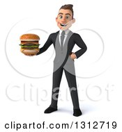 Clipart Of A 3d Happy Young White Businessman Holding A Double Cheeseburger Royalty Free Illustration