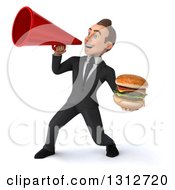 Clipart Of A 3d Happy Young White Businessman Holding A Double Cheeseburger And Announcing To The Left With A Megaphone Royalty Free Illustration