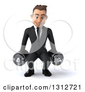Clipart Of A 3d Happy Young White Businessman Working Out And Doing Squats With Dumbbells Royalty Free Illustration