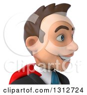 Clipart Of A 3d Avatar Of A Happy Young White Super Businessman Facing Right Royalty Free Illustration