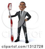 Clipart Of A 3d Happy Young Black Businessman Or Dentist In A Suit Standing With A Giant Tootbrush Royalty Free Illustration by Julos