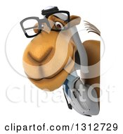 Clipart Of A 3d Bespectacled Arabian Doctor Camel Looking Around A Sign Royalty Free Illustration