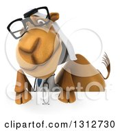 Clipart Of A 3d Bespectacled Arabian Doctor Camel Over A Sign Royalty Free Illustration