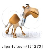 Clipart Of A 3d Bespectacled Arabian Doctor Camel Walking Slightly To The Right 2 Royalty Free Illustration
