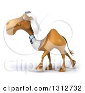 Clipart Of A 3d Arabian Doctor Camel Walking To The Left Royalty Free Illustration