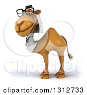 Clipart Of A 3d Bespectacled Arabian Doctor Camel Smiling And Facing Left Royalty Free Illustration
