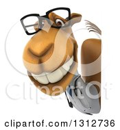 Clipart Of A 3d Bespectacled Doctor Camel Smiling Around A Sign Royalty Free Illustration