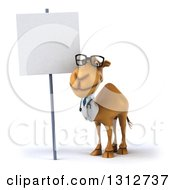 Clipart Of A 3d Bespectacled Doctor Camel By A Blank Sign Royalty Free Illustration