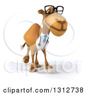 Clipart Of A 3d Bespectacled Doctor Camel Walking Slightly To The Right Royalty Free Illustration