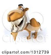 Clipart Of A 3d Arabian Camel Looking Up And Eating A Waffle Ice Cream Cone Royalty Free Illustration
