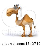 Clipart Of A 3d Arabian Camel Wearing Sunglasses And Facing Left 3 Royalty Free Illustration