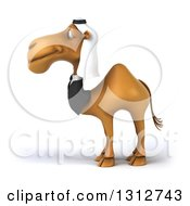 Clipart Of A 3d Arabian Business Camel Facing Left Royalty Free Illustration