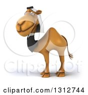Clipart Of A 3d Arabian Business Camel Facing Left And Smiling Royalty Free Illustration