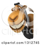 Clipart Of A 3d Arabian Business Camel Smiling Around A Sign Royalty Free Illustration