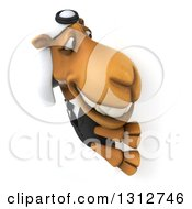 Clipart Of A 3d Arabian Business Camel Looking Around A Sign Royalty Free Illustration