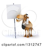 Clipart Of A 3d Arabian Business Camel Smiling Up At A Blank Sign Royalty Free Illustration
