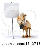 Clipart Of A 3d Arabian Business Camel Smiling By A Blank Sign Royalty Free Illustration
