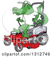 Cartoon Alligator Operating A Red Riding Lawn Mower