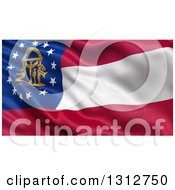 Clipart Of A 3d Rippling State Flag Of Georgia USA Royalty Free Illustration