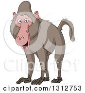 Clipart Of A Cartoon Happy Baboon Monkey Royalty Free Vector Illustration