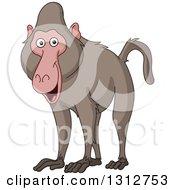 Clipart Of A Cartoon Happy Baboon Monkey Royalty Free Vector Illustration