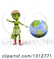 3d Green Nature Woman Wearing Leaves And Flowers Giving A Thumb Up And Pointing To The Americas On Planet Earth Over White With Shading